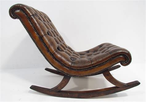 A Good Antique Leather Chesterfield Rocking Chair