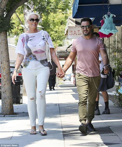 Brigitte Nielsen and husband Mattia Dessi head for lunch