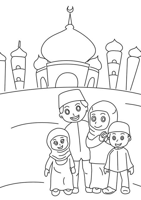 gambar mewarnai anak muslim perempuan