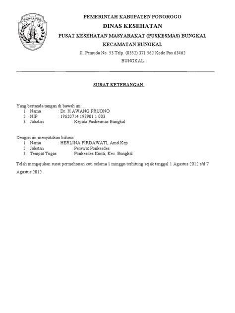 Contoh Surat Izin Tidak Masuk Kerja Bagi Pns by Contoh Surat Keterangan Dokter Di Makassar Surat W