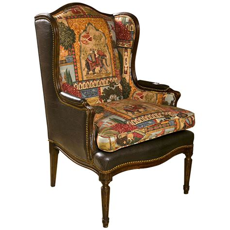 louis xvi style wing back bergere chair at 1stdibs