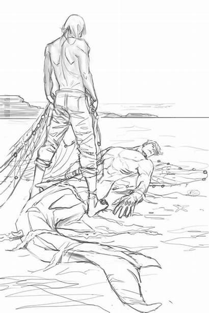 Drawing Mermaid Merman Shark Mermaids Fisherman Anime