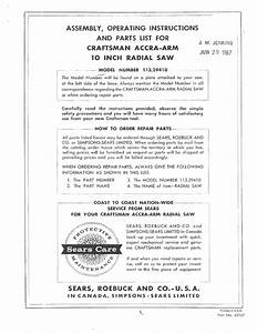 Craftsman 113 2941 Assembly And Operating Instructions