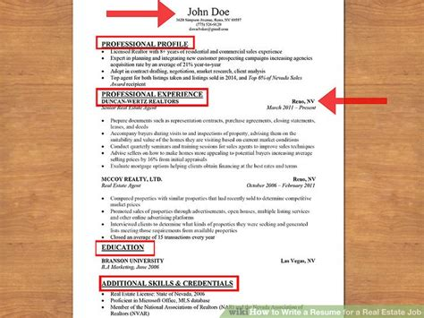 How To Write A Realtor Resume by How To Write A Resume For A Real Estate 13 Steps