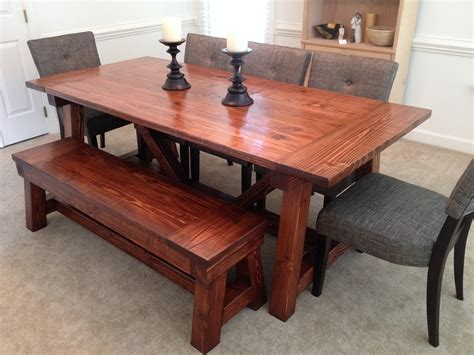 Dining Table With Bench by White 4x4 Truss Dining Room Table And Bench Diy