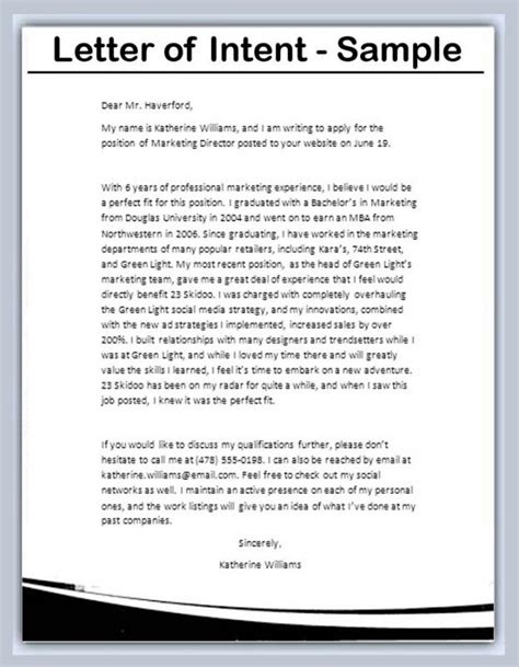 sample letter  intent template business