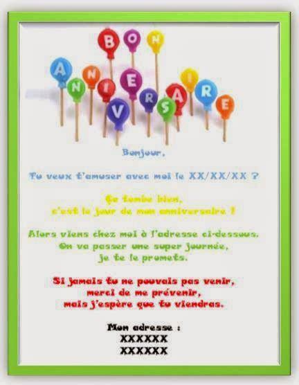 modele texte anniversaire garcon 8 ans texte carte invitation anniversaire 5 ans