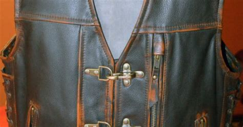 Custom Motocycle Leather Vest, Specially Designed Brown