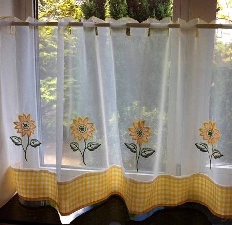 sunflower yellow white voile cafe net curtain panel
