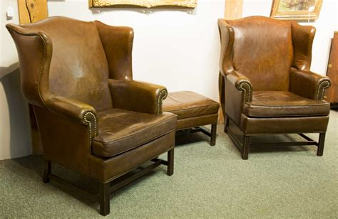ethan allen wingback chair leather pair of quot ethan allen quot leather wing chairs with ottoman