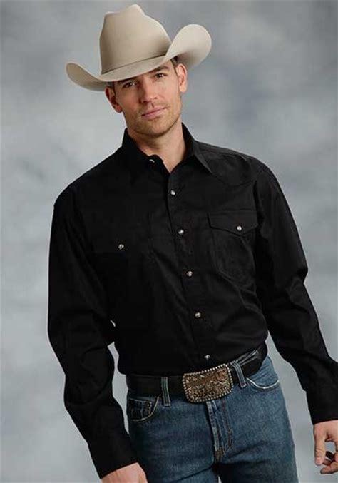 roper mens solid poplin long sleeve pearl snap cowboy shirt