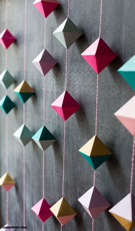 Diy wall art and decorating ideas are fun, fascinating and can be a great way to bring the family together over the weekend. DIY Paper Geode Garland   Origami wall art, Paper crafts, Paper decorations