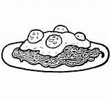 Spaghetti Coloring Meat Pasta Coloringcrew sketch template