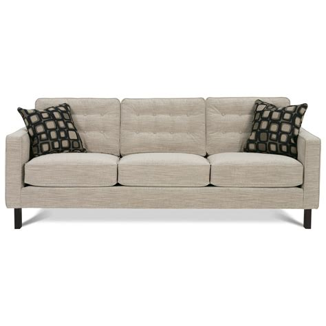 Rowe Abbott Upholstered Three Seat Sofa With Wood Legs