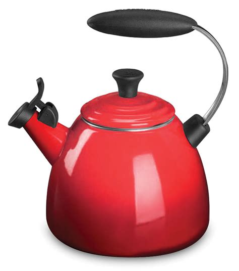 le creuset enameled steel halo tea kettle  quart cherry red cutlery