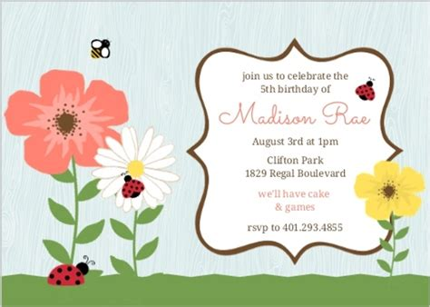 Whimsical Floral Garden Ladybug Kids Birthday Invitation The Living Room Channel 10 Time How To Decorate Long With Fireplace Young Designs Wall Paint Colours Cheap Sets Cleveland Ohio Club Funky Shelves Hookah Bar San Diego