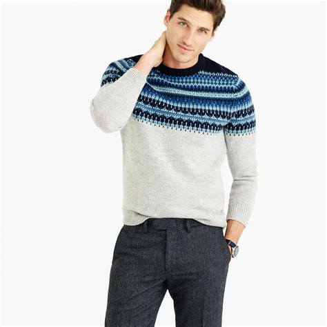 best sweaters j crew lambswool fair isle sweater in navy in blue for