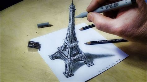eiffel tower illusion   draw eiffel tower