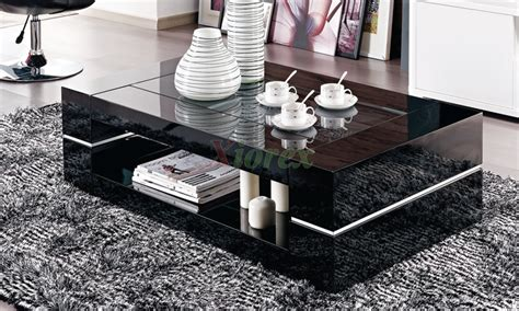 glass top coffee table  drawers rectangular glass top