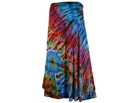 tie dye rayon wrap skirt  sunshine daydream chicago