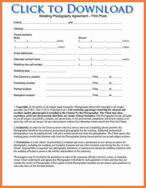 Professional Organizer Contract Template by 3 Photography Contracts Marital Settlements Information