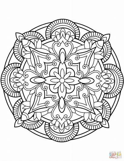 Coloring Mandala Pages Flower Printable Drawing Supercoloring