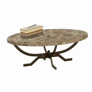 bowery hill oval faux marble top coffee table in matte With oval coffee table with marble top