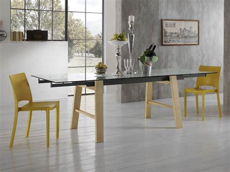 table bois et verre avec rallonge table 224 rallonges en verre avec pieds en bois