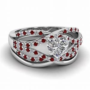 Crossover ring fascinating diamonds for Ruby wedding ring set