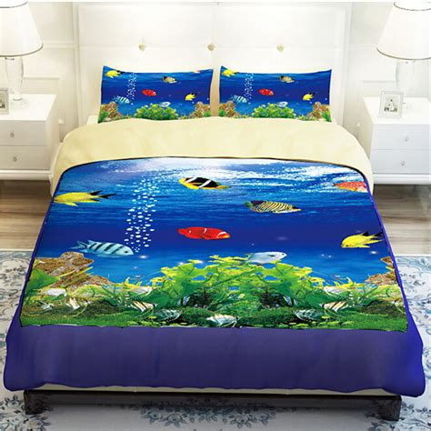 colorful duvet covers blue sea underwater colorful fish bedding sets