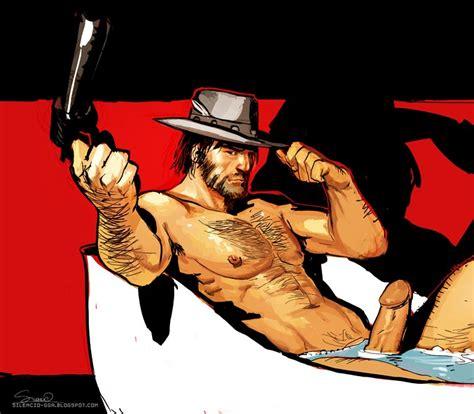 Rule 34 Bathtub Gun John Marston Male Nude Penis Red