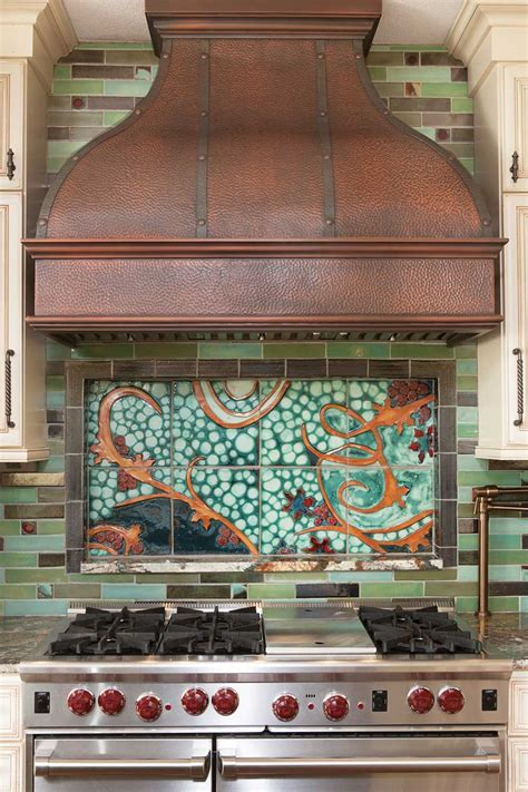 tile mural kitchen backsplash  clay squared  infinity
