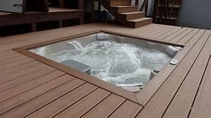 Jacuzzi En Bois : spa jacuzzi j lx encastr dans terrasse en bois ~ Nature-et-papiers.com Idées de Décoration