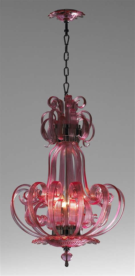 glass light chandelier florence pink murano glass 4 light pendant chandelier