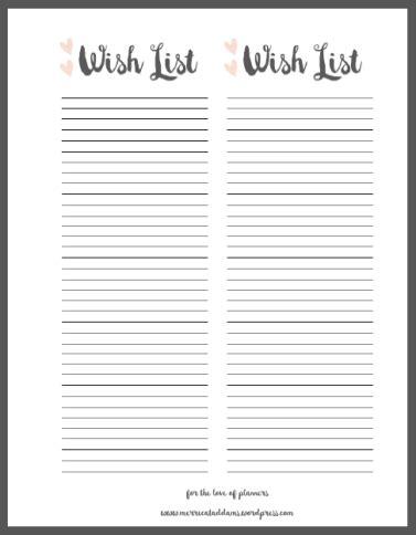 wish list template planner accessory wish list free printable merricat