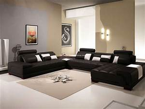 dark brown leather sectional sofa chesterfield using black With black and brown furniture in living room