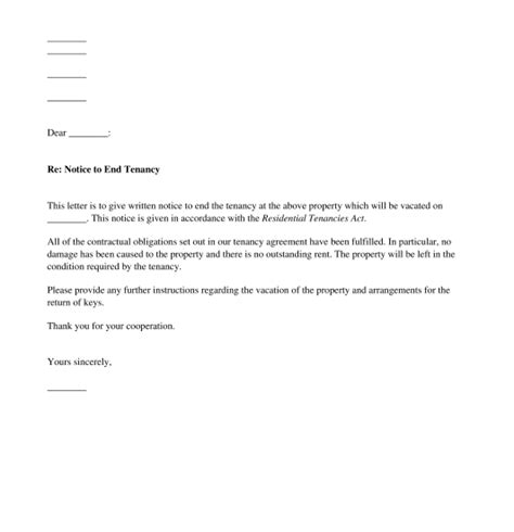 Notice To End Tenancy Template by Tenant S Notice To Terminate The Tenancy Template