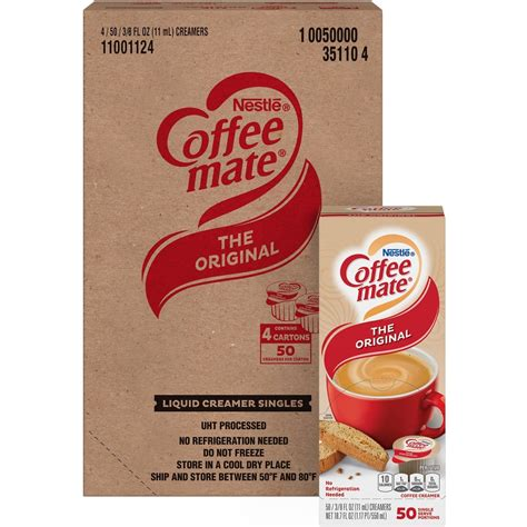 Delight your employees, customers and guests by offering coffee mate liquid creamer in your workplace, break room or kitchen. NES35110CT - Nestlé® Coffee-mate® Coffee Creamer Original- liquid creamer singles - Office ...