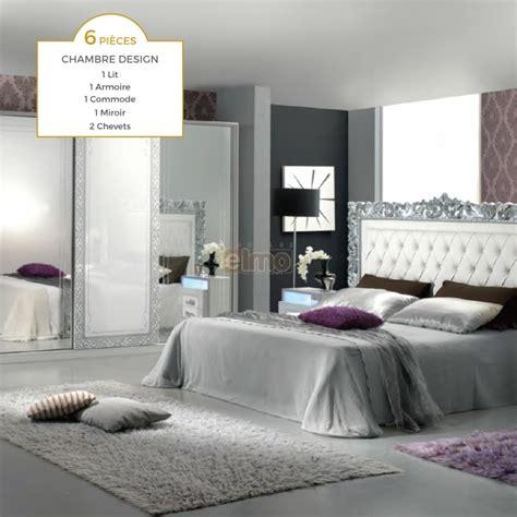 chambre complet chambre adulte complète 6 pièces blanc argent tête de lit