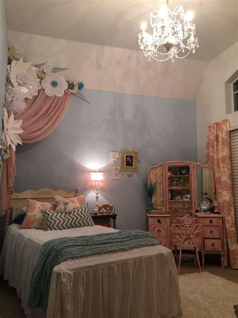paper flowers princess room pink  blue room ideas