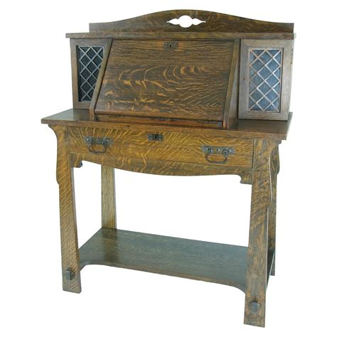 arts and crafts desk b411 antique solid tiger oak mission arts and crafts drop