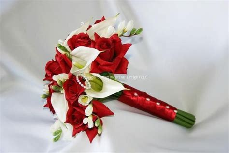 Red Roses And White Calla Lilies Wedding Bouquet