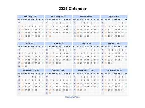 You choose to use our weekly planner for 2021? 2021 Calendar - Blank Printable Calendar Template in PDF ...