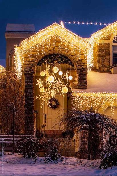 Christmas Lights Snowflake Outdoor Decorations Decoration Porch