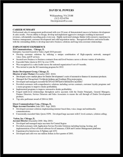 profile summary for sales resume resume template free