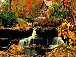 Autumn, Colors, House, Near, The, Small, Waterfall, U2013, Nature