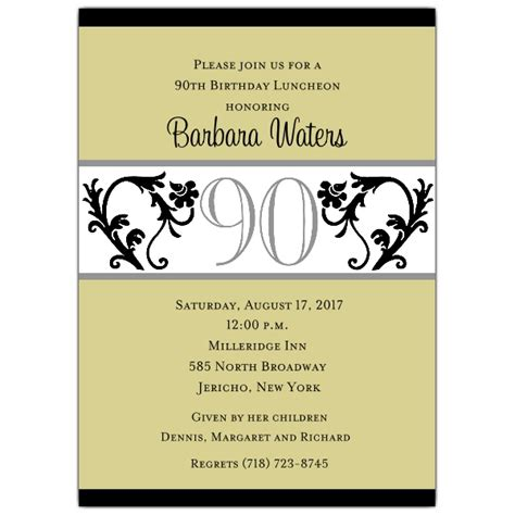 90s invitation template vine chartreuse 90th birthday invitations paperstyle