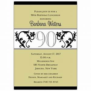 elegant vine chartreuse 90th birthday invitations paperstyle With 90th birthday invites templates