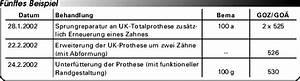 Nutzungsausfall Fiktive Abrechnung Ohne Reparatur : abrechnung nach bema und goz wiederherstellungsma nahmen eine gegen berstellung ~ Themetempest.com Abrechnung