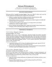 resume for banks resume exle investment banking careerperfect
